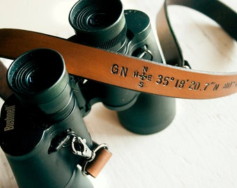 Binoculars Strap - Custom Leather Personalized Latitude and Longitude Coordinates, Compass Rose and Initials - Camera Strap for Him
