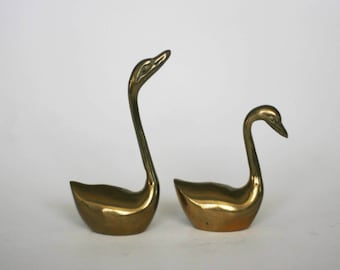vintage brass swans set of two