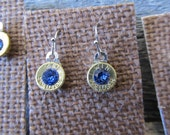 9mm Dangle Earrings, with Sapphire Blue Swarovki crystals  - Ready to Ship Today