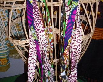 Bright African  Print Ethnic Design Handmade  Strands Necklace