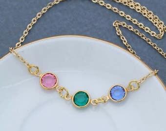 SALE • Gold Birthstone Necklace Swarovksi Birthstone • Mother Gift Birthstone Crystal Necklace • Colorful Gift Minimal Necklace Spring Gift