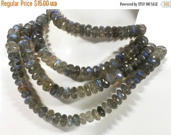 ON SALE Labradorite Beads Faceted Rondelles Rondels Roundels Blue Flash Blue Green Flash Earth Mined Gemstone - About 8mm  4 Inch Strand