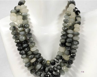 ON SALE Cats Eye Sillimanite Rondelles Rondels Beads Faceted Earth Mined Gemstone - 4-Inch Strand - 19 Beads - 7x7 to 8x8mm