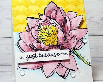 Just Because Flower Watercolor Handmade Card