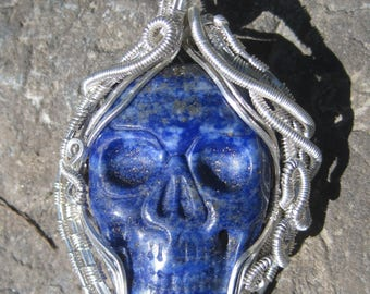 Rebirth///Large Lapis Lazuli Skull and Sterling Silver Wire Wrap Pendant, One of a Kind, Heady, Handmade, Art
