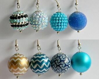 Blue Dangle Earrings, Chevron, Rhinestone, Anchor Earrings, Shades of Blue, Secret Santa Gift, Stocking Stuffer, Teacher Gift, Hostess Gift