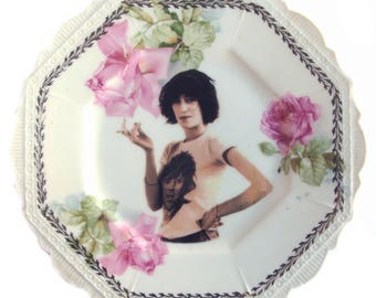 SALE - Damaged - Patti Smith Altered Vintage Plate 6.4""