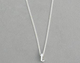 Rhodium Initial t Necklace