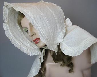 Antique Calico Bonnet, 1800s Ladies Homespun Field Prairie Sun Bonnet Primitive