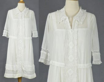 1920s White Cotton Tea Dress, 20s Dress, Jazz Age Lawn Party Dress, 2pc 1920s Frock