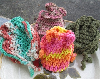Cotton Soap Sacks Crocheted by SuzannesStitches, Crocheted Soap Saver, Natural Soap Saver, Crocheted Washcloth, Crocheted  Soap Holder, Soap