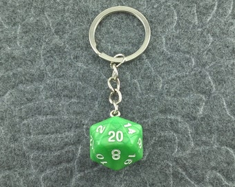Green Pearl D20 Keychain, Green D20 keychain, Dice Keychain, Dungeons n Dragons Keychain, Pathfinder, Dungeouns and Dragons Keychain