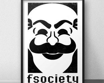 Mr Robot, Mr Robot Poster, F Society, Mr Robot Mask, Mr Robot Art Print, Minimalist Art, Geek Decor, Geek Wall Art,  Minimalist Printable
