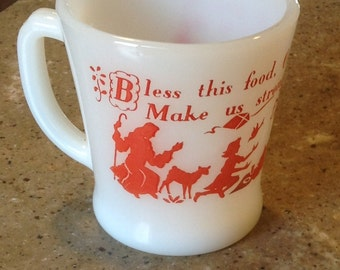 Vintage Fire King Prayer Childs Red Glass Coffee Milk Hot Chocolate Mug