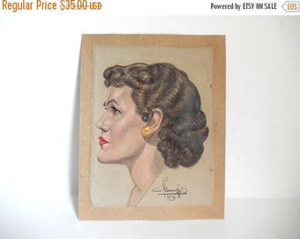 Mid Century c. 1953 Original Hand Drawn Pastel Illustration of a Woman