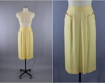 Vintage 1940s Pencil Skirt / 40s Midi Skirt / Light Yellow Linen Skirt