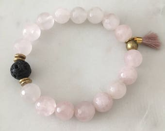 Rose Quartz Bracelet - Handmade - Essential Oil Bracelet