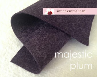 Wool Felt 1 yard cut - Majestic Plum - frosty dark purple wool blend felt
