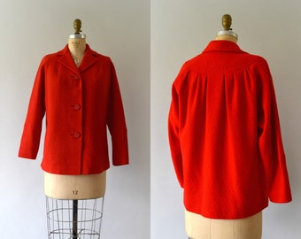 1950s Vintage Coat - 50s Betty Rose Red Wool Jacket Coat