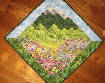 Blue Lake Tahoe Skies Fabric Wallhanging, Landscape Art Quilt Rustic Cabin Lodge, Mountain Art Quilt, Quilted Wall Hanging, Quiltsy Handmade