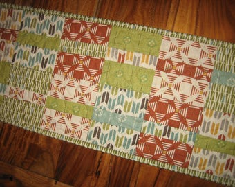 """Contemporary Blue Yellow Green Rust Table Topper, Quilted, Reversible 10.5 x 25.5"""" 100% cotton fabric"""