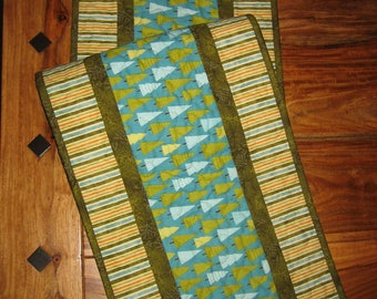 "Quilted Table Runner, Blue Green Pine Trees and Stripes, Pine Cone Reversible, 13 x 48"" Handmade Free Shipping"