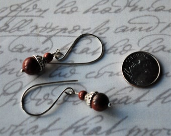 Sweet and to the Point Red Jasper and Sterling Silver Earrings