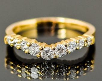 Vintage 14K Yellow Gold Diamond V-Shaped Wedding Band