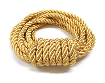 5mm Shiny Gold Satin Twisted Cord, Wrapped Thread Cord, Rope Cord - 1 Yard/ 0.92m approx.(1 piece)