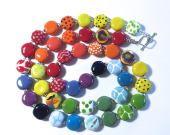 Beaded Necklace, Kazuri Beads,  Fair Trade, Ceramic Jewellery, Rainbow Colours