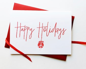 happy holidays: peace ornament (set of 8) | corporate holiday cards, business christmas cards | customizable | recycled