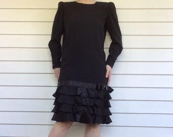 80s Dress Black Retro Ruffled Cocktail Vintage XS Saks Fifth Avenue