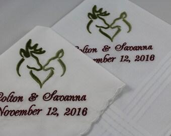 Wedding Handkerchiefs - Set of 2 - Embroidered - Deer - Antler - Camo - Rustic - Wedding Gift - Simply Sweet Hankies