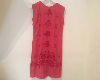 Vinage Red Embroidered Shift Dress