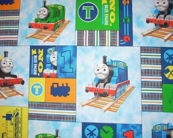 Thomas the Tank Engine on blue-  Cotton Fabric - 15 inches wide and sold by the yard