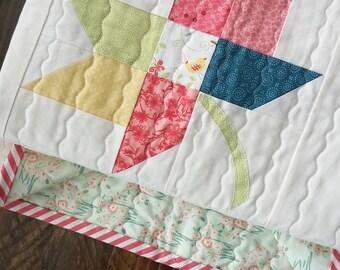 Twirl Leaf Quilt - Baby Quilt - Blanket - Crib - Infant - Bedding - Custom Made