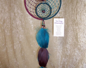 YIN YANG - 7 Inch OOAK Dreamcatcher in Purple and Turquoise by FeatheredDreams1