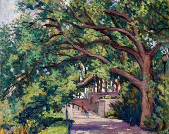 From Fort Tyron Park Promenade, Old Elm tree, NYC. 16x16 Oil on Canvas, Impressionist Plein Air Fine Art, Signed Original Landscape Painting