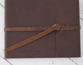 Rustic Wedding Guest Book - Brown Leather Rustic Guest Book with Wrap Tie
