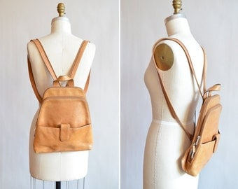 Vintage 1990s MINIMALIST leather backpack