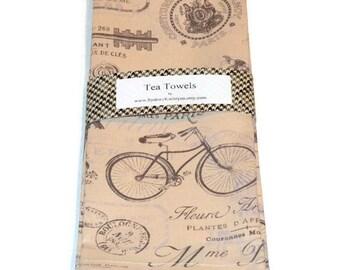 Paris Tea Towels, Paris , Dish Towels, Set of 2, Decorative Kitchen Towels