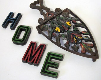 Wilton Trivet Cast Iron Plus 4 Matching Letters H O M E Home Vintage Kitchen Color