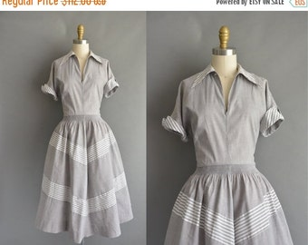 25% off SHOP SALE... vintage 1950s dress / 50s gray cotton stripe vintage dress