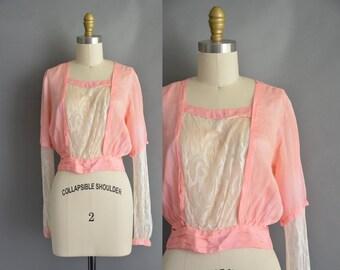 vintage 1920s blouse / antique 20s pink silk lace vintage blouse