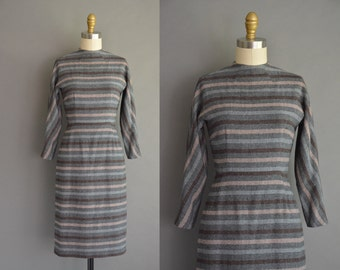 50s dress / 50s wool stripe vintage wiggle dress / vintage 1950s dress