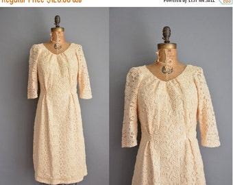20% OFF SHOP SALE... vintage 1950s dress / cream textured floral dress / 50s dress
