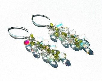 Rainbow Quartz & Vesuvianite Dangle Earrings / Sterling Silver / Wire Wrapped / Olive Green / Long / Teardrops / Gifts for Her / OOAK