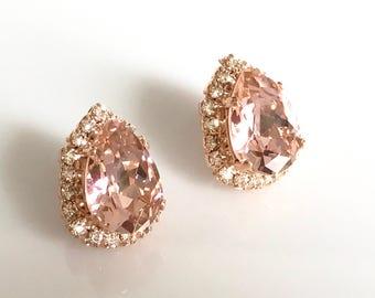 Blush Crystal Stud Earrings Rose Gold Earrings Swarovski Crystal Earrings Vintage Style Pink Crystal Bridal Earrings Wedding Jewelry