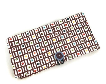 Check wallet with button closure and colorful fabric