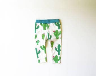 Cactus Piñatas | Organic Kids & Babies Leggings | Teal | Green | Hand Made | Toddler Pants | Girls | Boys | Baby Bottoms | Hipster Pants